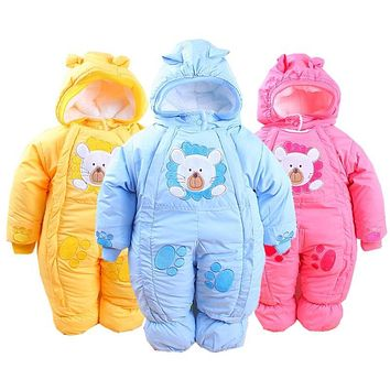 Winter Baby Rompers Fashion Brand Cotton Fleece Ropa Bebe Infant Girl Jumpsuit Kids Clothing Newborn Baby Boy Clothing Outwear