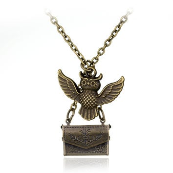 Hot Movie HP Vintage Jewelry Owl Post Necklace With Hogwarts Acceptance Letter Pendant Locket Necklace Female Long Sweater Chain