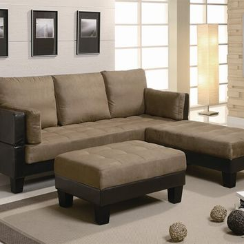 300160 3 pc. two - toned chocolate sofa bed set dual textured microfiber and faux leather and ottoman