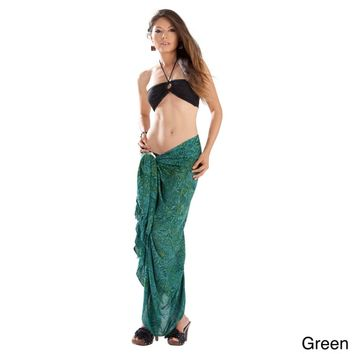 1 World Sarongs Women's Abstract Leaf Sarong (Indonesia) | Overstock.com Shopping - The Best Deals on Sarongs/Cover Ups