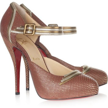 Christian Louboutin | Myriam 120 embossed-leather pumps | NET-A-PORTER.COM