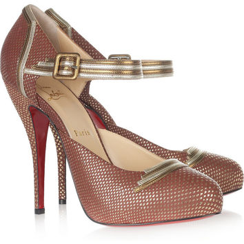 Christian Louboutin|Myriam 120 embossed-leather pumps|NET-A-PORTER.COM