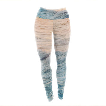 "Chelsea Victoria ""Sherbert Ocean"" Orange Nature Yoga Leggings"