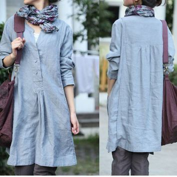 Free Style Pleated Linen Dress/ 8 COLORS by ramies on Etsy