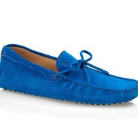Tod's - Gommino Suede Moccasin Loafers With Front Tie - Sapphire Blue