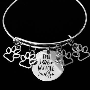 True Love Has Four Paws Jewelry Paw Print Expandable Charm Bracelet Adjustable Silver Wire Bangle Dog Cat Pet Animal Lover One Size Fits All Gift
