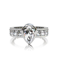 1.70ct D-VS Pear cut diamond engagement ring made from white gold, engagement, bezel, solitaire, wedding, ring, unique, diamond ring