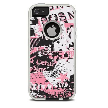 The Pink & Black Abstract Fashion Poster Skin For The iPhone 5-5s Otterbox Commuter Case