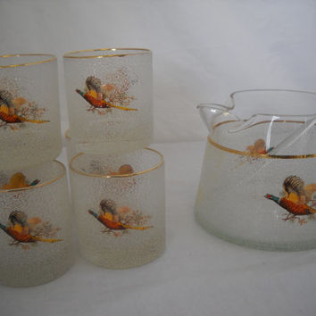Vintage Cocktail Pitcher And Glasses With Pheasant Design