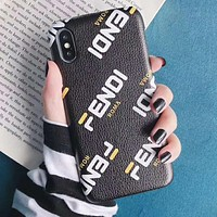 FENDI Fashion Mobile Phone Cover Case For iphone 6 6s 6plus 6s-plus 7 7plus 8 8plus X XsMax XR Black