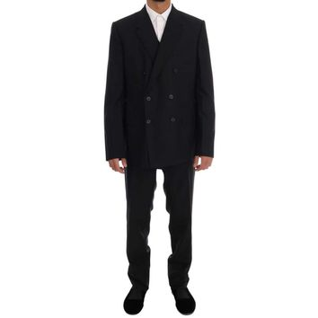 Dolce & Gabbana Black Wool Double Breasted Slim Fit Suit