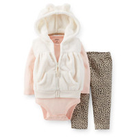 3-Piece Velboa Vest Set