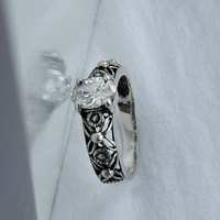 Victorian Sterling Ring Size 7.75  - Vintage Victorian Style Ring - Size 7 3/4 Ring - White Stone Ring