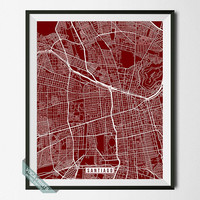 Santiago Map, Chile Poster, Santiago Poster, Santiago Print, Chile Map, Chile Print, Street Map, Home Decor, Room Decor, Wall Art