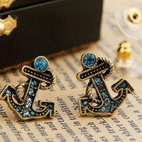 ancient vintage styleanchor earrings with blue by sevenvsxiao