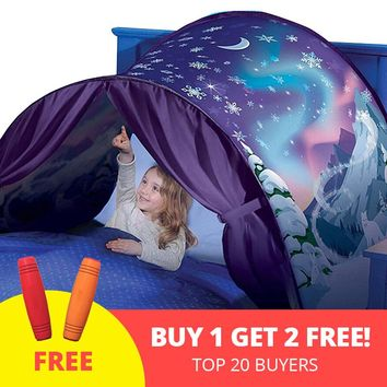Kids Tent Baby Fantastic Stars Dream Tents Fantasy Foldable Unicorn Moon 82 * 220cm Cosmic Space Snow Tents Fancy Sleeping Prop