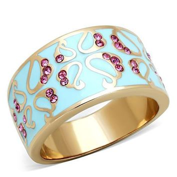 Rose Gold Ion Plated Stainless Steel, Enamel, & CZ Bypass Ring