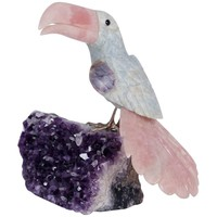 Carved Stone Toucan on an Amethyst Geode