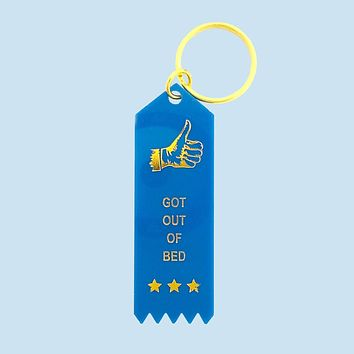 Got Out Of Bed Plastic Keytag in Azure Blue