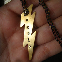 "HARRY POTTER ""Accio"" Spell Lightning Bolt Charm, Hand Stamped Golden Brass, Hermione, Ron, Black and Gold Diamond Cut Chain, FREE Shipping"