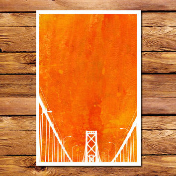 Canvas Bridge Orange Poster