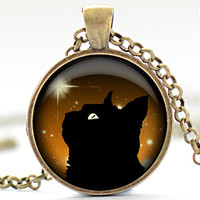 Black Cat Necklace Black Cat and Orange Jewelry by FrenchHoney