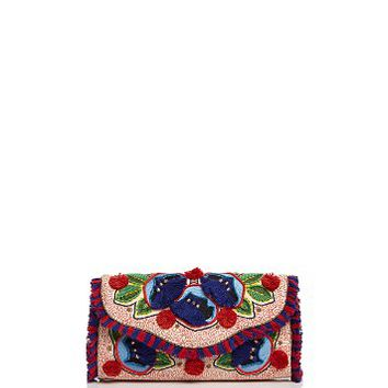Tory BurchEmbroidered Floral Flap Clutch