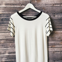 Stripe Sleeve Ringer Tee (Black)