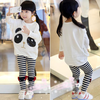 new children's clothing Girls cute paillette panda batwing Hoodies sweatshirts kids t-shirts clothes SM6