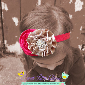 Tan Red Headband, Fall Baby Headband, Satin Flower Hairband, Newborn Photo prop, Pearl Hair Bow, Girls Hair Clip, Toddler Infant Headbands