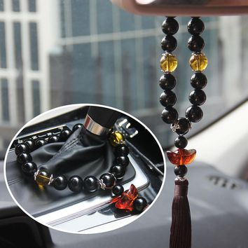 Chinese Style Crystal Car Rearview Mirror Decoration Pendant Automobile Gear Stalls Beads Ornaments Car Hanging Accessories