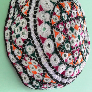 Cotton Fabric Hand Embroidered and Mirror Work Cap, Small Round Cap For Fashion, Indian Topi, Girl's Fashion