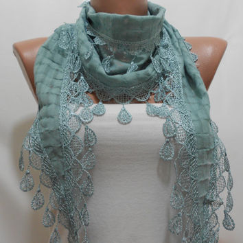 Grayed Jade Scarf - Cowl Scarf with Lace Edge, Gift for Her - Jade Scarf - MiracleShine