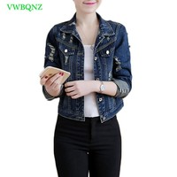 Women Wild Slim  Denim Jacket Spring Autumn New Short Holes Basic Coat Womens Korean Long sleeve Plus size Blue Jeans Jacket 487