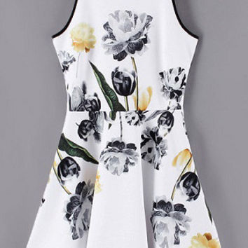 White Floral Print Sleeveless Skater Mini Dress with Back Zipper