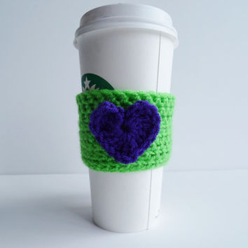 Crochet Heart Coffee Cup Cozy - Coffee Cozy - Coffee Cup Cover - Cup Sleeve