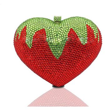Strawberry Rhinestone Wedding Clutch