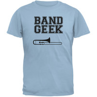 Band Geek Trombone Light Blue Adult T-Shirt