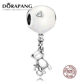 NEW 100% 925 Sterling Silver Bear and Balloon Charm Hanging Charm love balloon and cute bead Fit DIY bracelet jewelry