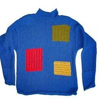 Vintage 90s Primary Colors LIZ CLAIBORNE Color Block Ugly Sweater Women's L