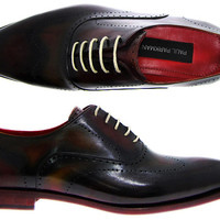 Paul Parkman Men's Oxford Shoes Burgundy & Camel Hand Burnished Leather Upper With Leather Sole