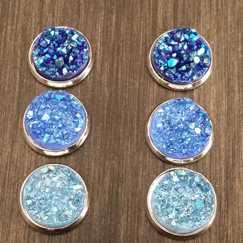 Druzy earring set-  Iridescent blue drusy stud set - druzy earrings