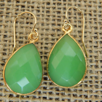 Chrysoprase earrings, vermeil, dangle earrings, teardrop shape, beach chic, bohemian style, green, St Patricks Day