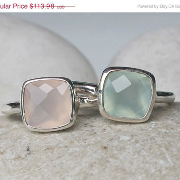 Sale Pastel Stack Ring- Pink and Green Ring- Gemstone Ring- Mothers Ring- Statement Ring- Topaz Ring- Quartz Ring