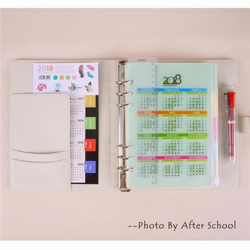 Creative Spiral Notebook Suit With 2018 Calendar Sticker Ballpoint Pen Student Lovely 2018 Diary Planner Office Noted Organizer