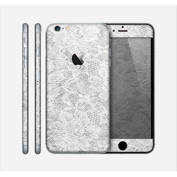 The White Textured Lace Skin for the Apple iPhone 6 Plus