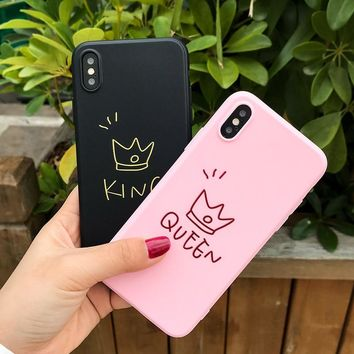 Solid Silicone Phone Case For iPhone X/8/7/6 Crown Cover Capas For iPhone X/7Plus/8Plus/6Plus Case Pink King Queen Fundas