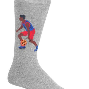 Hot Sox Men's Sports Series Novelty Casual Crew Socks, Basketball