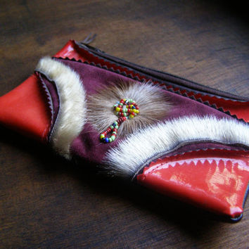 Boho Tribal Funky Clutch Wallet, Vintage Soviet Embellished Red Purple Gypsy Small Change Pouch, Gift for Girl Colorful Purse, Bag Accessory