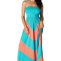 CYP Women's Sleeveless Summer Chevron Empire Maxi Dress Turquoise and Coral